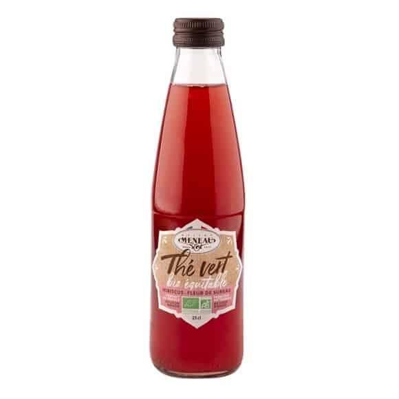 Thé glacé Thé vert Hibiscus bouteille verre 12 x 250ml BIO