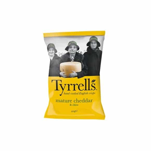 Tyrrells - Chips Cheddar affiné et Ciboulette 24 x 40g
