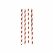 Pailles papier rouges et blanche Ø6mm x 250
