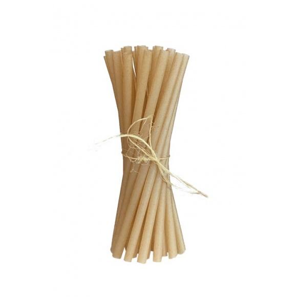 Sachet de 100 pailles en canne à sucre L.210mm Ø 8mm