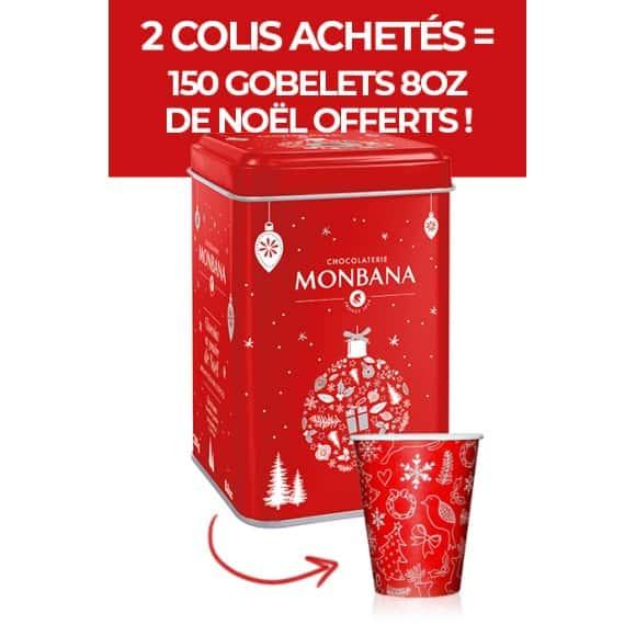 12 boîtes 250g chocolat en poudre de Noël pain d'épices + gobelets offerts