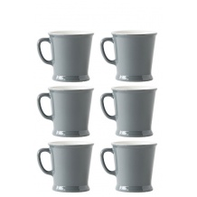 Lot de 6 sets x 6 MUG porcelaine 230ml Gris