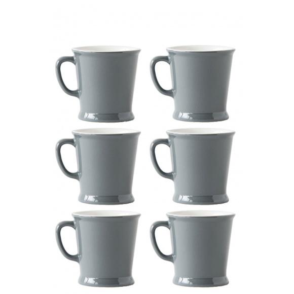 Lot de 6 sets x 6 MUG porcelaine 230ml Gris