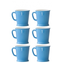 Set x 6 MUG porcelaine 230ml Bleu