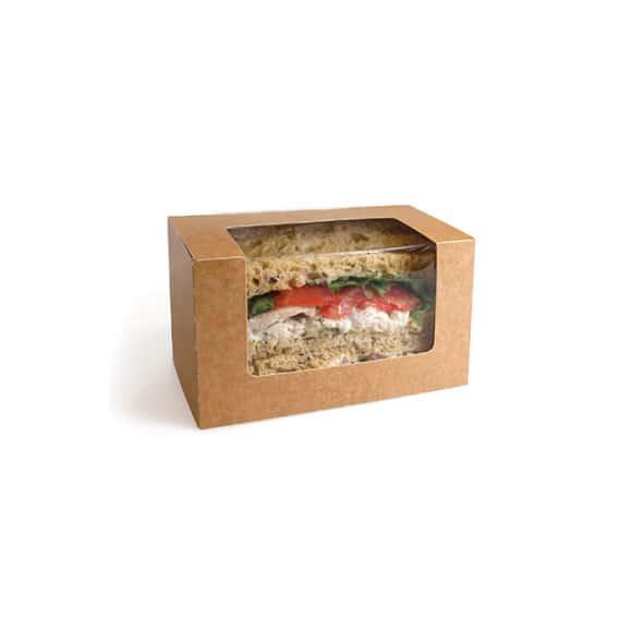 Sachet x 500 BLOOMER boîtes kraft avec fenêtre pour Sandwich Pain de mie