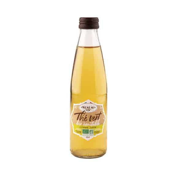thé vert citron thym bouteille verre